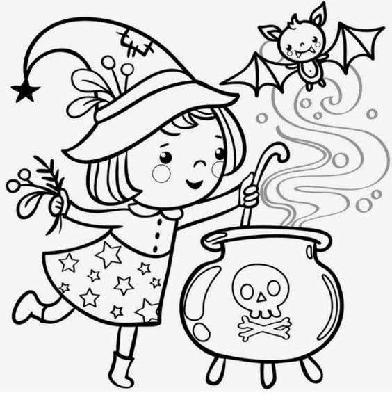 Tranh tô màu Halloween cute