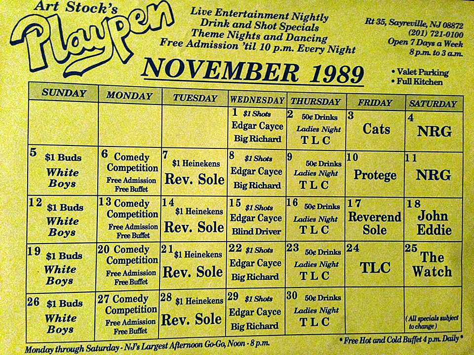 Playpen band line up November 1989... Edgar Cayce & Big Richard on the same night. They would always end up on the stage together towards the end of the night kicking our muthafucking asses! It was really something to see. So talented and actually made it look easy!! Great nights!
