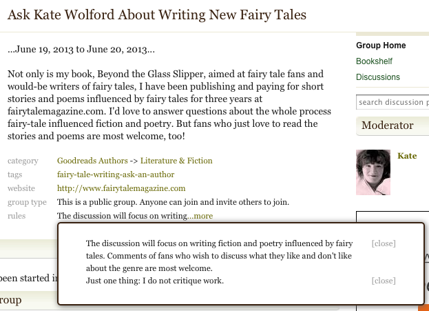 Once Upon A Blog   : Goodreads Author Chat: Ask Kate Wolford