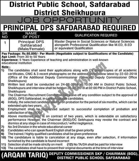 Jobs  in DPS District Public School Safdarabad, Sheikhupura Today Express Ad