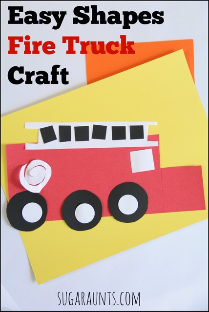 Easy shapes fire truck craft. This is fun for toddlers and preschoolers during fire safety week.