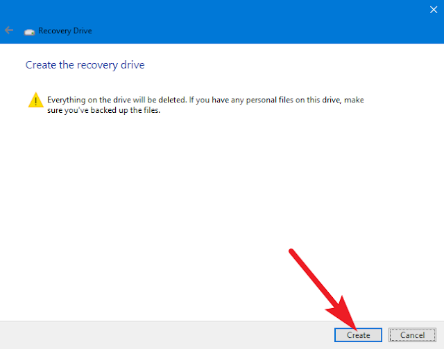 create the recovery drive