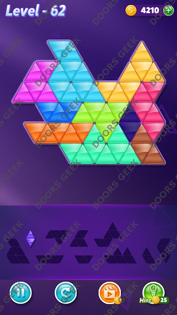 Block! Triangle Puzzle Master Level 62 Solution, Cheats, Walkthrough for Android, iPhone, iPad and iPod