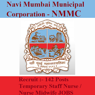 Navi Mumbai Municipal Corporation, NMMC, Maharashtra, Staff Nurse, Midwife, 10th, freejobalert, Sarkari Naukri, Latest Jobs, nmmc logo