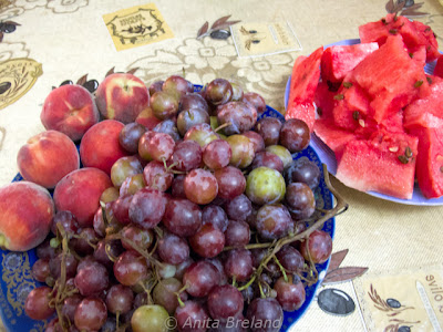 Grapes, plums, peaches and watermelon