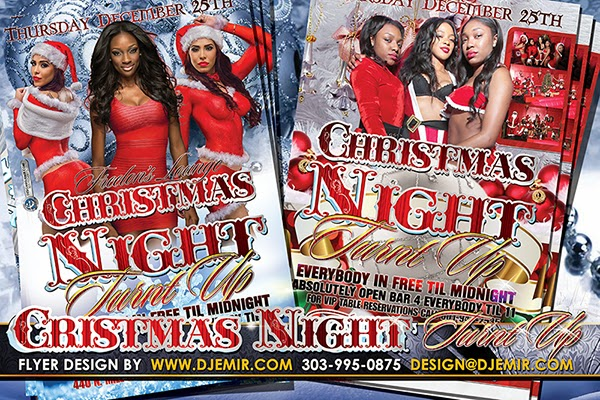 Christmas Night Turnt Up Christmas Flyer Design