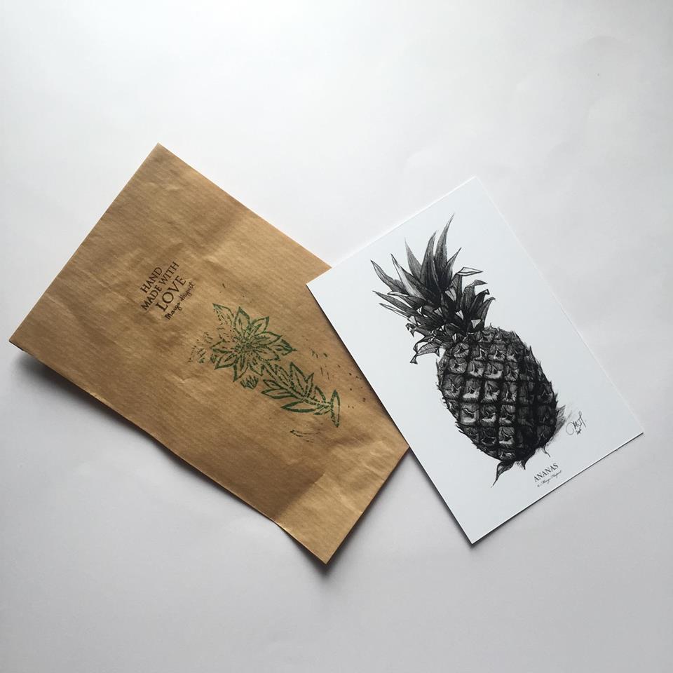Ananas Rysunek margo hupert : ananas kartka pocztowa