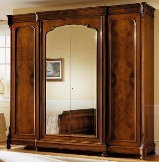 lemari kayu jati kaca 3 pintu