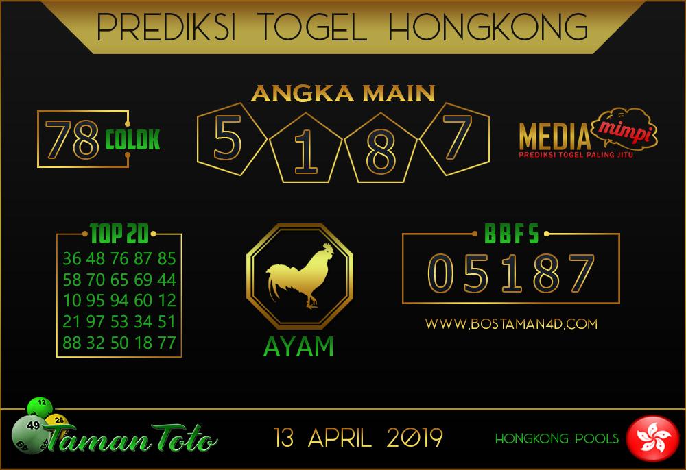 Prediksi Togel HONGKONG TAMAN TOTO 13 APRIL 2019