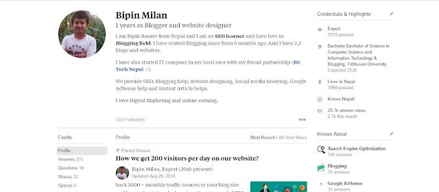 Quora Profile Bipin Milan