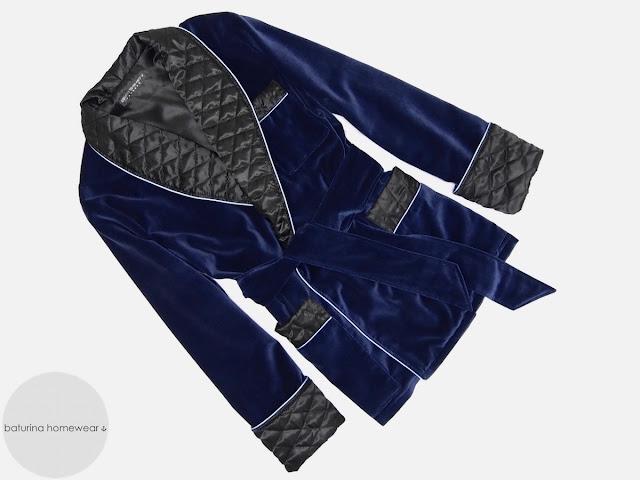 Mens blue velvet smoking jacket robe dressing gown quilted silk