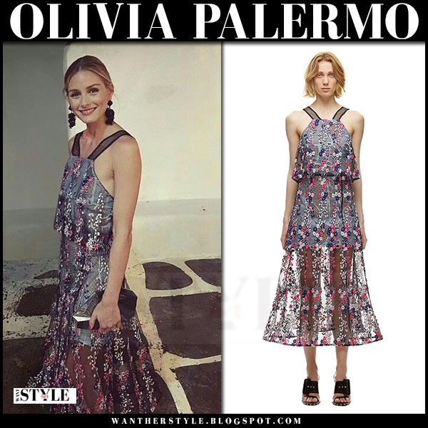 Olivia Palermo in light blue floral vine embroidered lace dress self portrait greece vacation what she wore