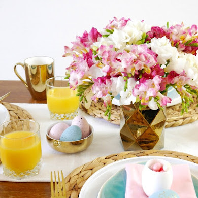 My Pink, Blue & Gold Easter Brunch Tablescape