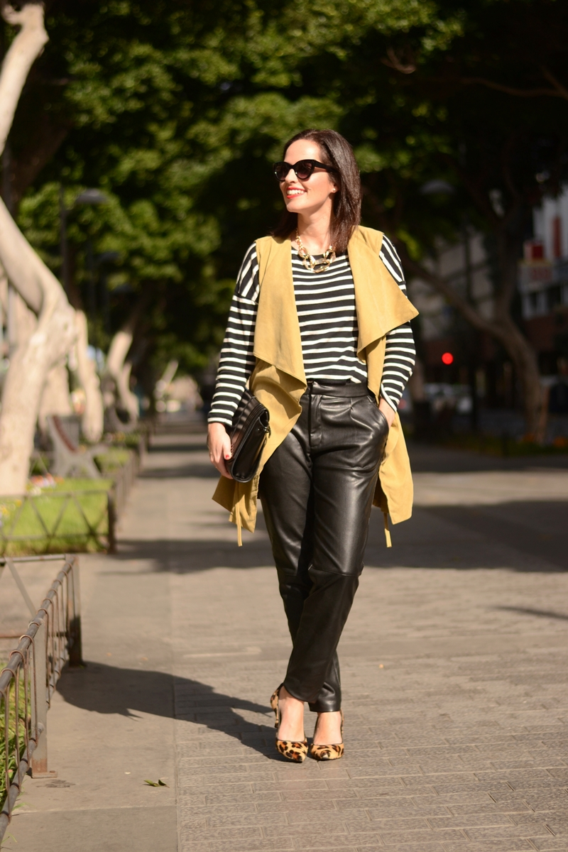 outfit-vest-leather-trousers-zara-striped-tshirt-street-style