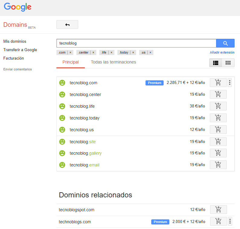 Google Domains - Palabras Relacionadas