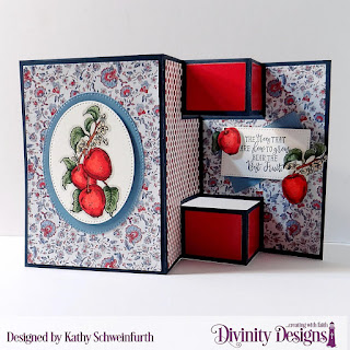 Divinity Designs Stamp Set: Apple Branch, Custom Dies: Half Shutter Card With Layers, Pierced Ovals, Pierced Rectangles, Paper Collections:  American Quilt, Old Glory
