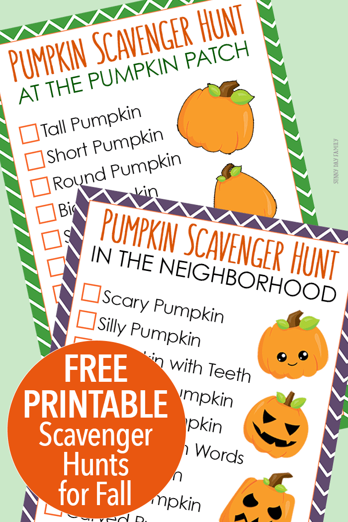 Free printable pumpkin scavenger hunt with two ways to play! One is a fun pumpkin patch scavenger hunt and the other is a Halloween scavenger hunt for your neighborhood. Your kids will love searching for pumpkins with these fun fall scavenger hunt printables!