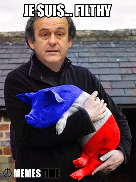 Meme Platini with Tricolored Pig – Je Suis… Filthy