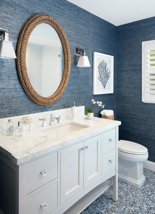 Navy Bathroom with Rope Mirror