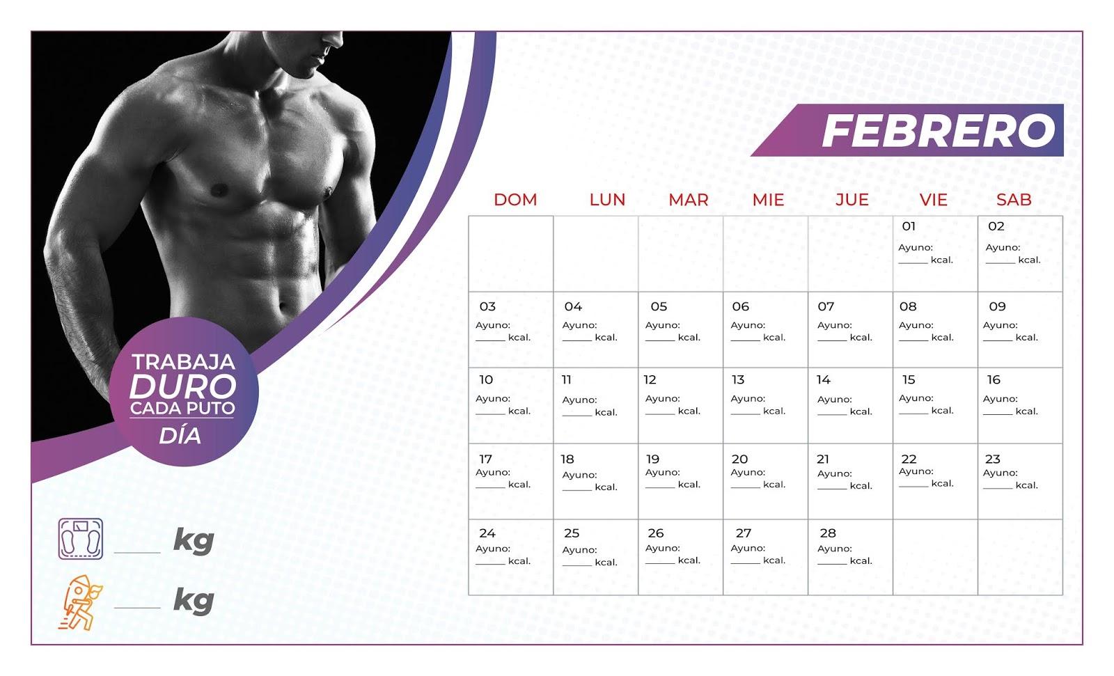 Calendario Fitness 2019.Calendario Fitness Hombre 8 5x14