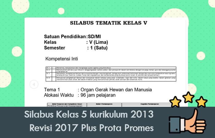 Silabus Kelas 5 kurikulum 2013 Revisi 2017 Plus Prota Promes