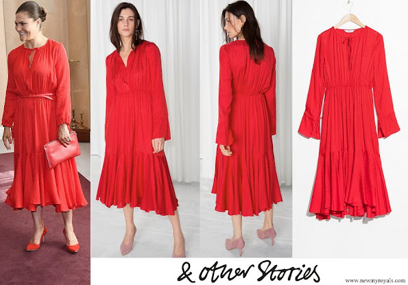 Crown Princess Victoria wore & Other Stories Midi Tie Neck Dress