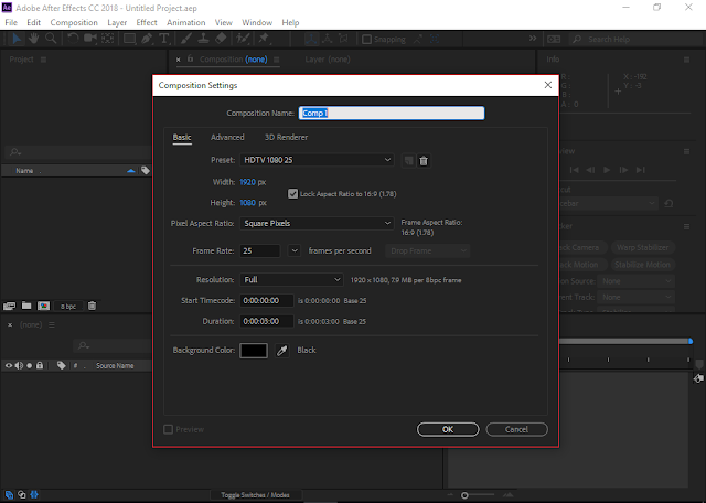 Adobe After Effects CC 2018 | Composition settings