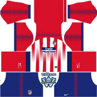 Atletico Madrid 2019 la liga Dream League Soccer fts Kit and Logo