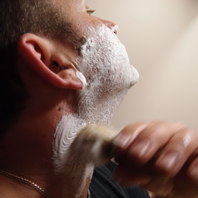 eight acres: using a safety razor, shaving soap and a brush