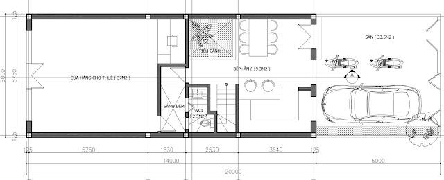 Thiết kế tầng 1 của Shophouse Embassy Garden Tây Hồ Tây