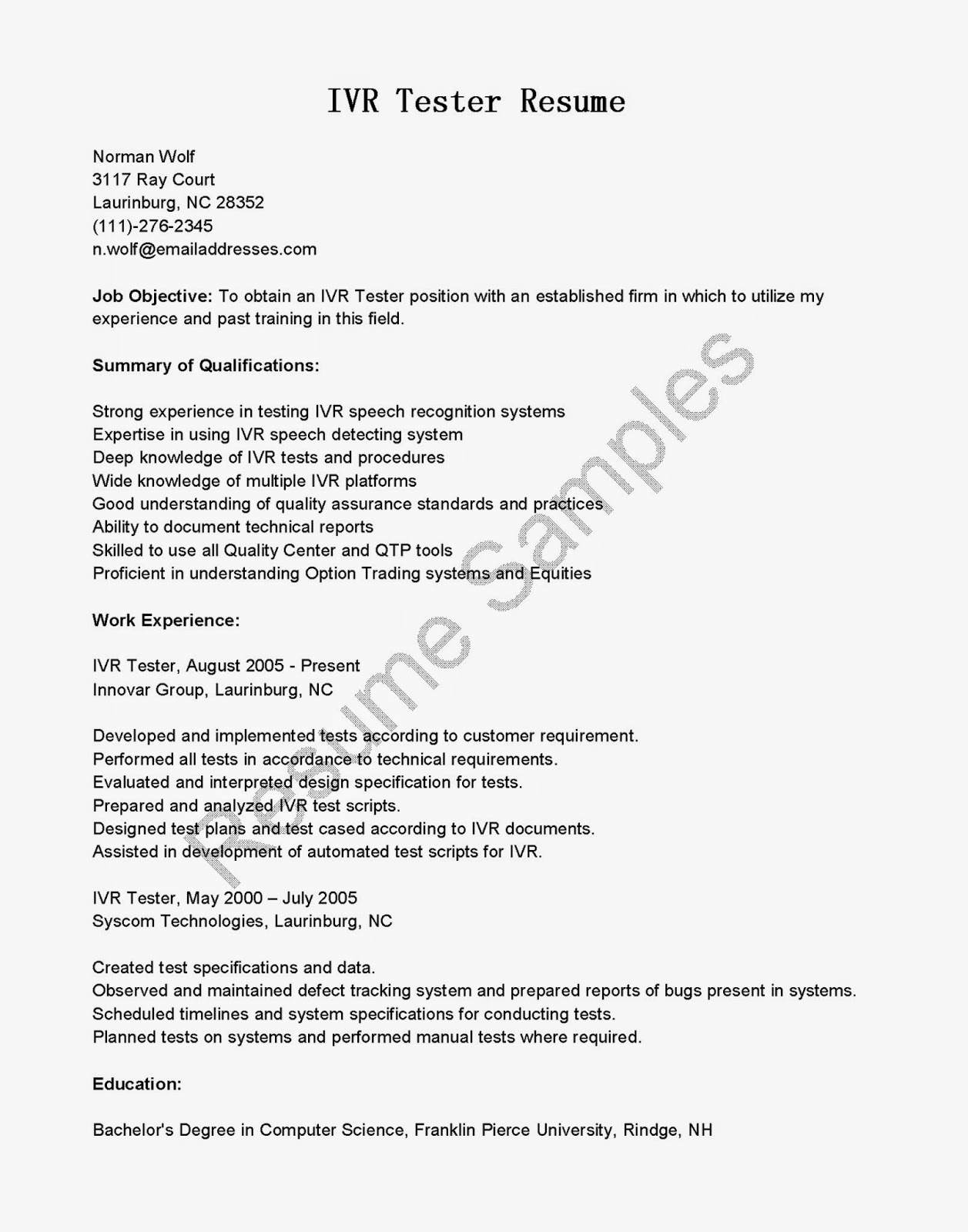resume samples  ivr tester resume sample
