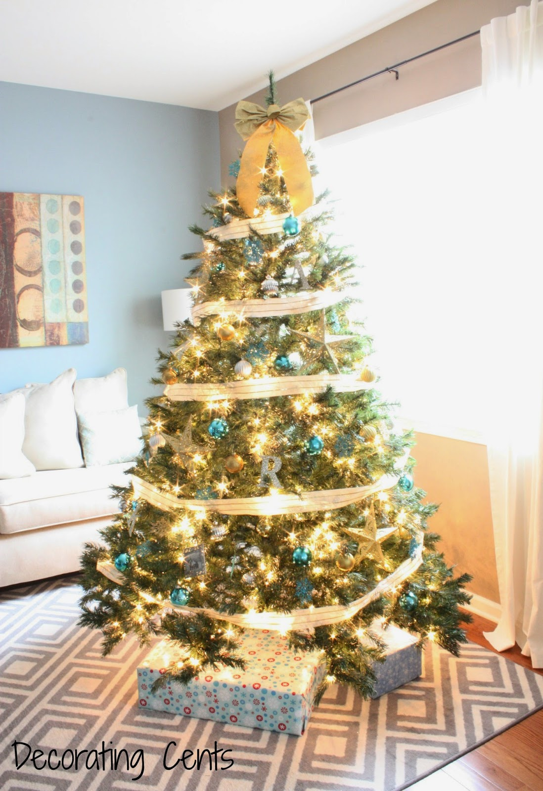 gold silver and blue christmas tree. Black Bedroom Furniture Sets. Home Design Ideas