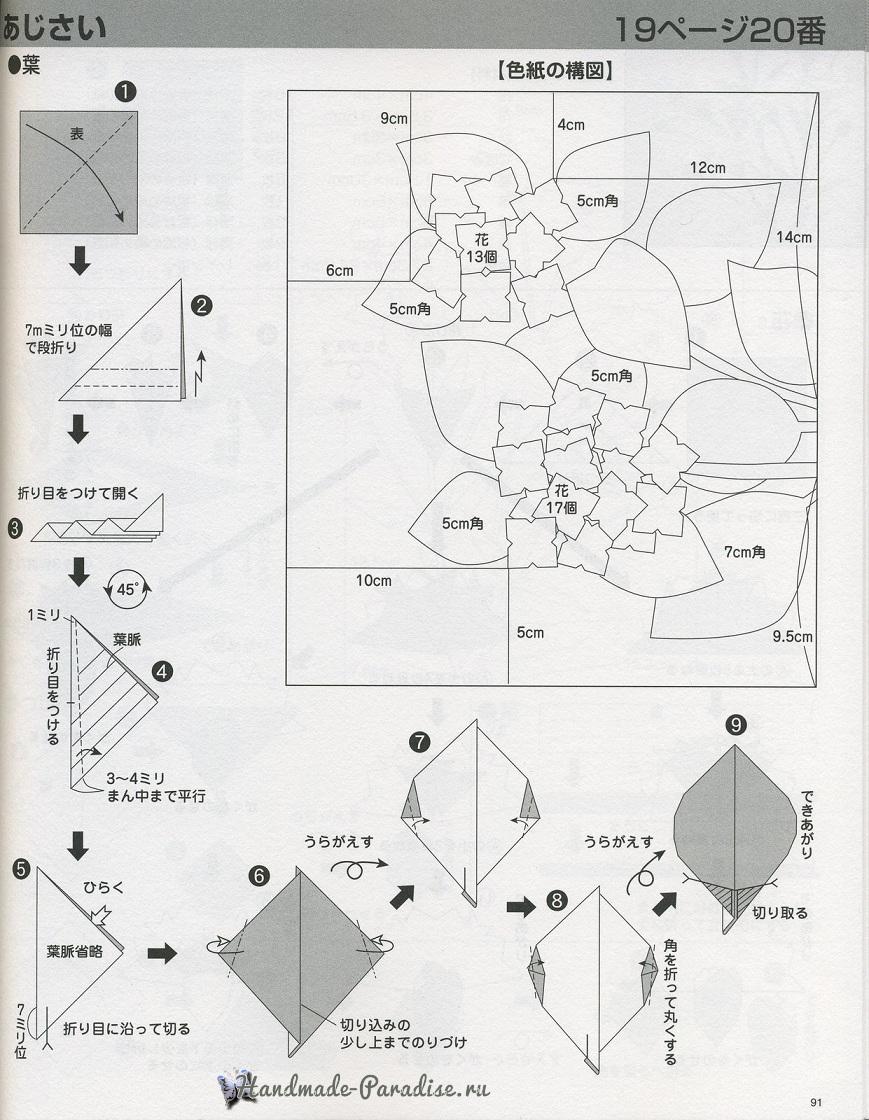Гортензия из бумаги в технике оригами (5)