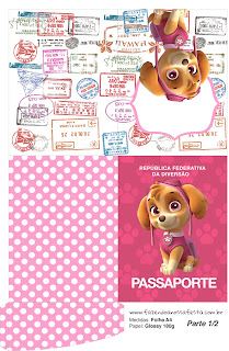 Pasaporte de  Skye de Paw Patrol para imprimir gratis.