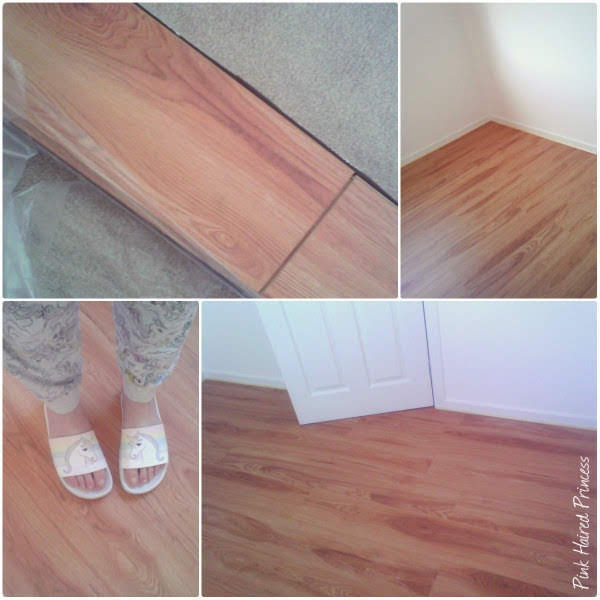 collage of photos showing laminate floor installation in shoe room