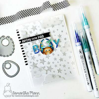 Darling Little Baby Boy Card by Samantha Mann for Newton's Nook Designs, Baby Card, Stencil, Stars, Bibs, new baby, #newtonsnook #babycard #baby #bibs, #babyboy #handmadecards #cards