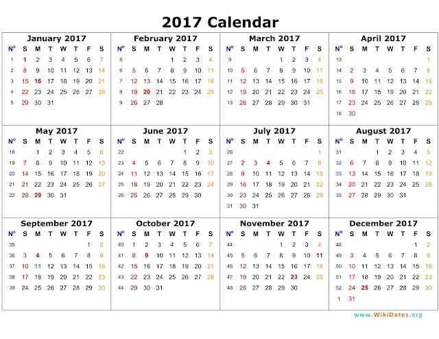 printable 2017 yearly calendar