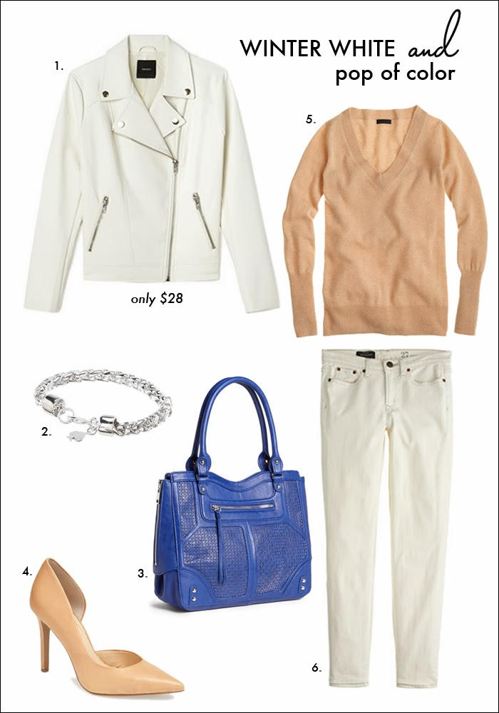 how to wear winter white, white moto jacket, forever 21, all white trend, cobalt blue, jessica simpson, kate spade, nordtrom, j. crew