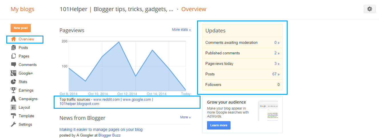 How to check blog traffic stats in blogger