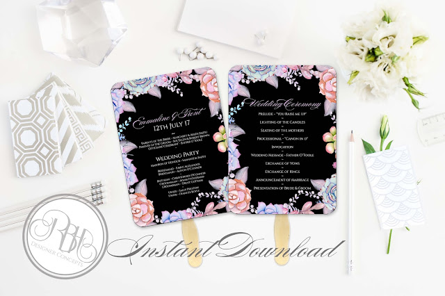 Lilac Purple & Mint Succulent ceremony program fan Template