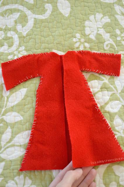 Red Felt Doll Coat