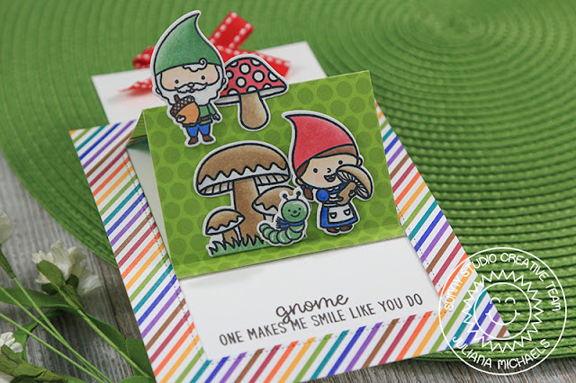 Sunny Studio Stamps: Home Sweet Gnome Sliding Window Interactive Card by Juliana Michaels