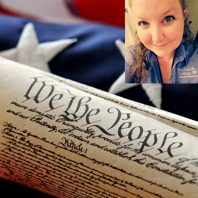 Image of the U.S. Constitution, American flag and photo of Rio student Taryn Rebuck