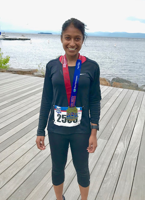 Tanya Senanayake Vermont City Marathon finish photo