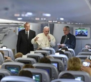 Pope and Lombardi in plane