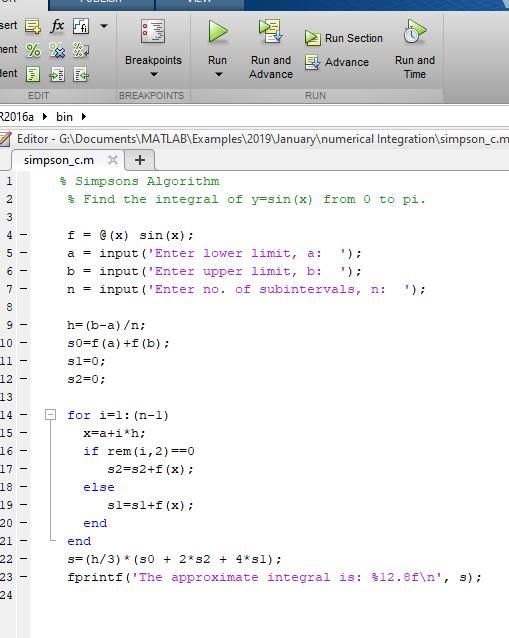 Simpsons Algorithm for numerical integration using MATLAB