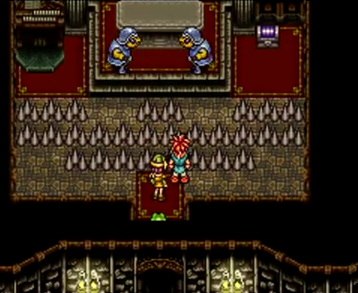 Crono and the party are stopped by a spike trap in 600 AD's Manolia Cathedral