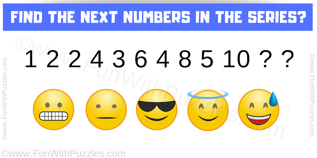 Find the next numbers in the series 1 2 2 4 3 6 4 8 5 10 ? ?