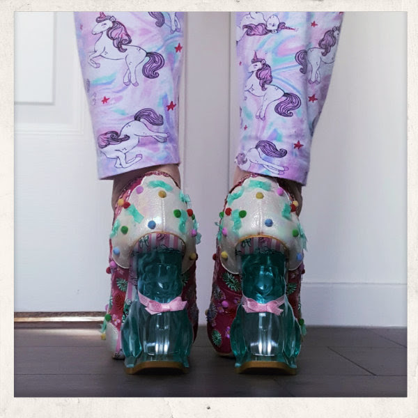 wearing irregular choice pink rainbunny rabbit heels