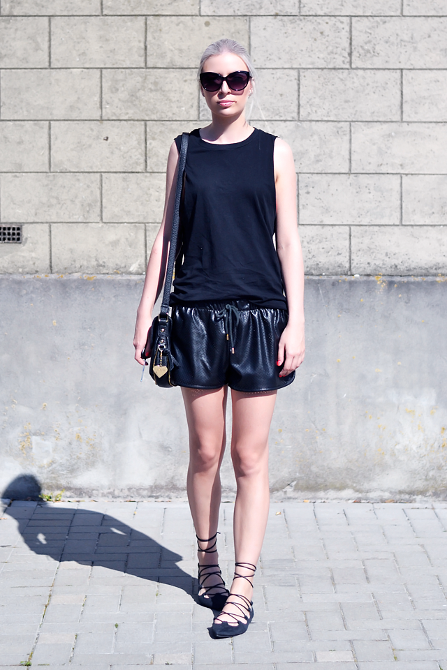 ootd, outfit, dropped armholes, top, black, h&m, river island, perforated, faux, leather shorts, mesh, marc b, bag, lace up flats, ebay, trends, summer, 2015